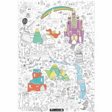 Poster géant à colorier monde féerique (70x100cm)  par Petits canaillous
