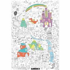 Poster géant à colorier monde féerique (70x100cm)
