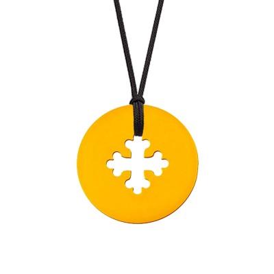 Collier cordon médaille Signes Croix Occitane 16 mm (or jaune 750°) Maison La Couronne