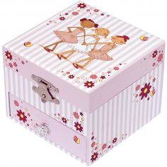 Boîte à bijoux musicale phosphorescente Ballerine rayée