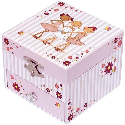Boîte à bijoux musicale phosphorescente Ballerine rayée  par Trousselier