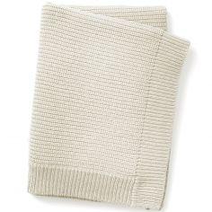 Couverture en coton et laine crème Vanilla White (100 x 70 cm)