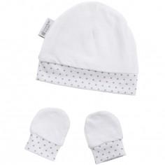 Bonnet et moufles de naissance en coton étoile