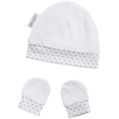 Bonnet et moufles de naissance en coton étoile  par Candide