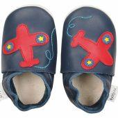Chaussons en cuir Soft soles avion bleu (9-15 mois) - Bobux
