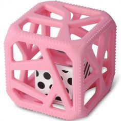 Hochet cube de dentition rose