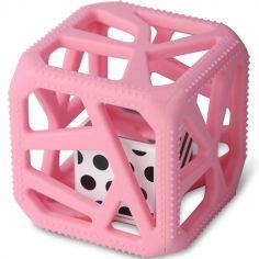 Hochet cube de dentition rose