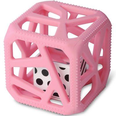 Hochet cube de dentition rose  par Malarkey Kids