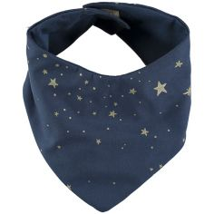 Bavoir bandana Lucky coton bio Gold stella Night blue