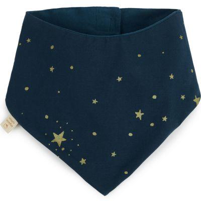 Bavoir bandana Lucky coton bio Gold stella Night blue  par Nobodinoz