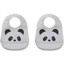 Lot de 2 bavoirs en silicone Tilda panda dumbo grey  par Liewood