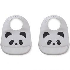 Lot de 2 bavoirs en silicone Tilda panda dumbo grey