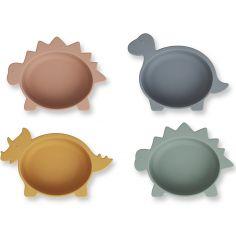 Lot de 4 bols en silicone Iggy Dino multicolore