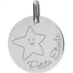 Médaille Petite Etoile personnalisable (or blanc 375°)