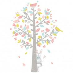 Sticker l'arbre aux moineaux roses Sweet Bunnies by Flora Waycott