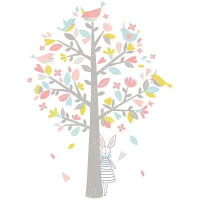 Sticker l'arbre aux moineaux roses Sweet Bunnies by Flora Waycott   par Lilipinso