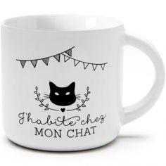 Petite tasse à café J'habite chez mon chat (250 ml)