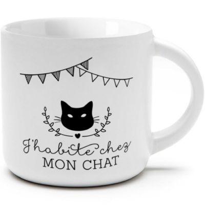 Petite tasse à café J'habite chez mon chat (250 ml)  par Créa Bisontine