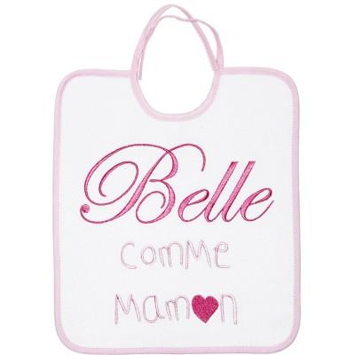 Bavoir à nouer Belle comme maman rose  par Babycalin