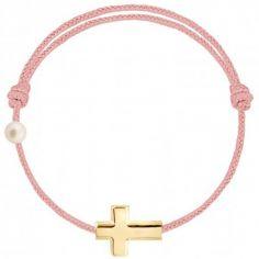 Bracelet cordon Croix et perle rose poudré (or jaune 750°)