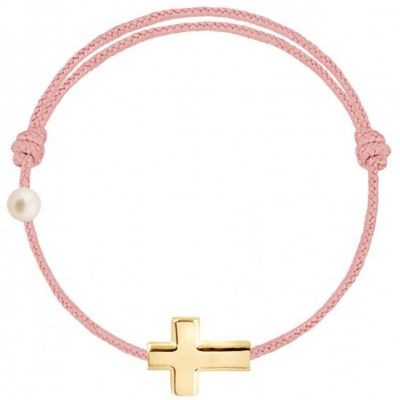 Bracelet cordon Croix et perle rose poudré (or jaune 750°)  par Claverin