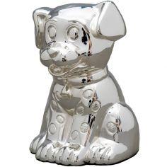 Tirelire petit chien personnalisable (métal argenté)