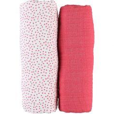 Lot de 2 draps housses coton bio Amy & Zoé chien rose (70 x 140 cm)