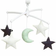 Mobile musical Lune vert mint (7 mélodies au choix)