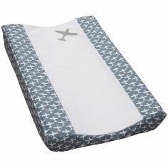 Housse de matelas à langer Airplane gris bleu et blanc (44 x 72 cm)