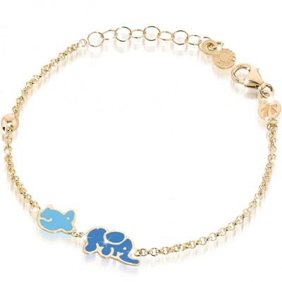 Bracelet sur chaîne Primegioie Lucky Eléphant (or jaune 375°)  par leBebé