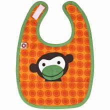 Bavoir à poche singe orange en coton bio  par Franck & Fischer