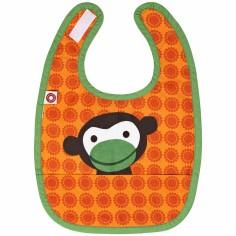 Bavoir à poche singe orange en coton bio