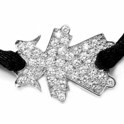 Bracelet cordon petite fille ou petit garçon empierré 15 mm (or blanc 750°) Loupidou
