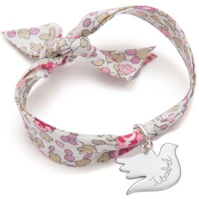 Bracelet enfant Liberty avec colombe personnalisable (argent 925°)  par Merci Maman