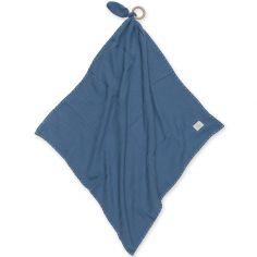 Doudou plat avec anneau en bois Swaddle bleu minéral wonder