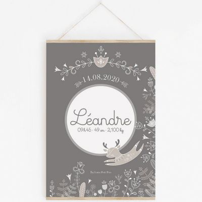 Affiche de naissance A3 Petit renne gris avec support (personnalisable)  par Lutin Petit Pois