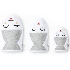 Lot de 3 gants de toilette gris