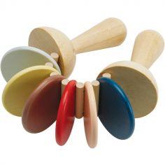 Claquettes en bois couleurs tendresse