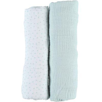 Lot de 2 draps housses en mousseline de coton menthe (60 x 120 cm)  par Noukie's