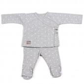 Ensemble tee-shirt et pantalon Gaby gris clair (1-3 mois) - Walking Mum