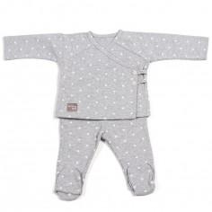 Ensemble tee-shirt et pantalon Gaby gris clair (1-3 mois)