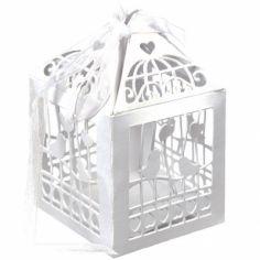 Lot de 20 boîtes à dragées Cage à oiseaux blanches