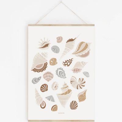 Affiche A3 Coquillages avec support  par Lutin Petit Pois