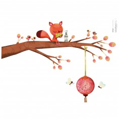 Stickers A3 ecureuil sur sa branche by Lucie Brunellière (29,7 x 42 cm)