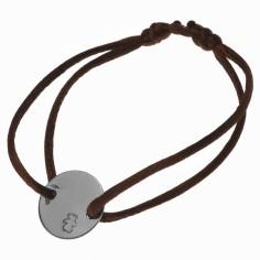 Bracelet cordon Pastille 14 mm (or blanc 750°)