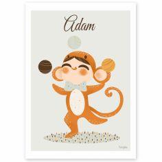 Carte A5 Les adorables costumés Le singe (personnalisable)