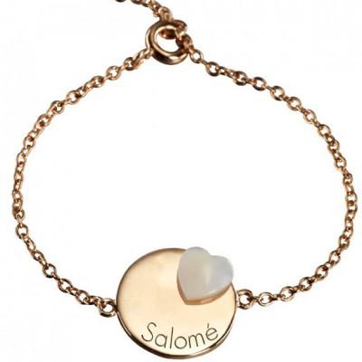 Bracelet Lovely médaille coeur (plaqué or jaune et nacre)  par Petits trésors