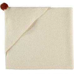 Couverture tricotée à capuche écrue So Natural (65 x 65 cm)