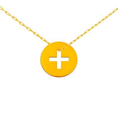 Mini bijou croix grecque sur chaîne (or jaune 18 carats)  par Maison La Couronne