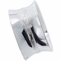 Rond de serviette Rubans croisés personnalisable (métal argenté)